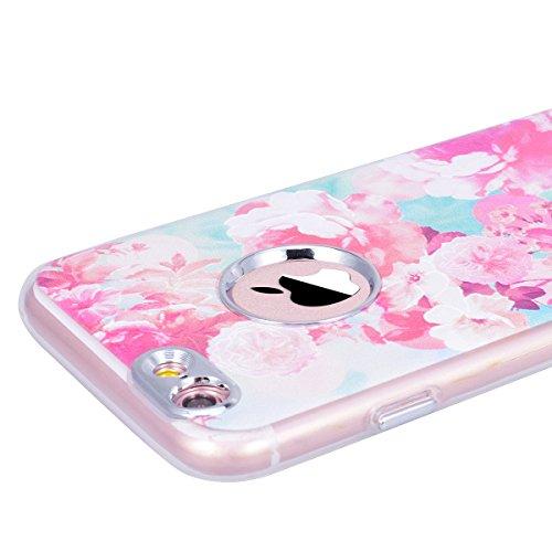 WE LOVE CASE iPhone 6 Plus / 6s Plus Hülle Mond iPhone 6 Plus / 6s Plus Hülle Silikon Weich Schwarz Handyhülle Tasche für Mädchen Elegant Backcover , Soft TPU Flexibel Case Handycover Stoßfest Bumper  Pink Flower