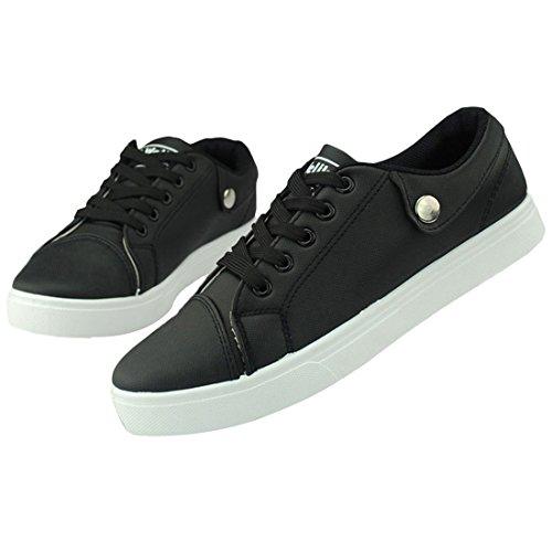 Oasap Man's Sporty Solid Color Lace Up Shoes Black