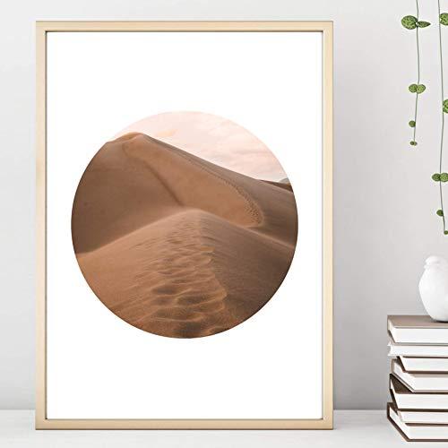 Beige Spur (Din A4 Kunstdruck ungerahmt - Wüste Orient Dünen Spuren Sahara Kreis Scandi Style Beige Fotokunst Geschenk Druck Poster Bild)