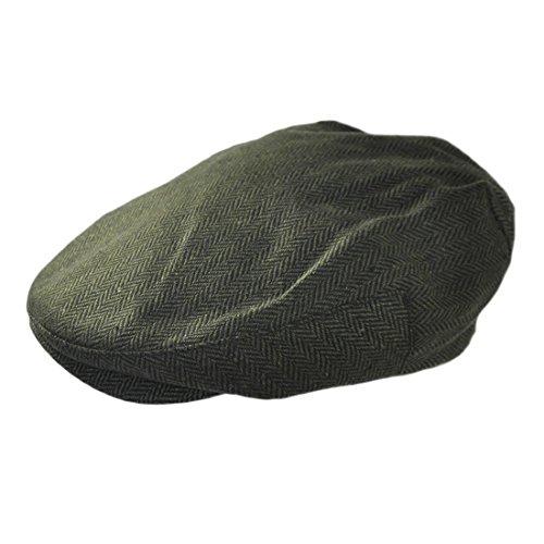 Irish Design Tweeds Verstellbare Schiebermütze mit Fischgrätenmuster grün