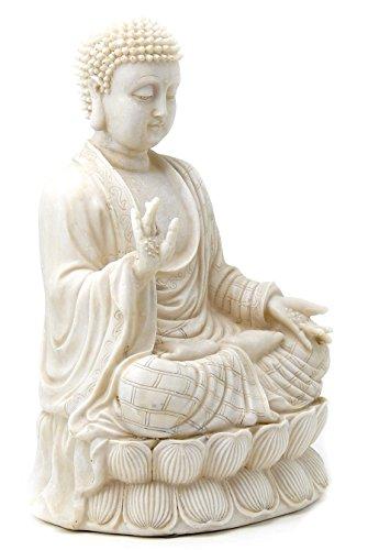 # 1 Belle bénédiction Bouddha Blanc Antique en Pierre Artificielle