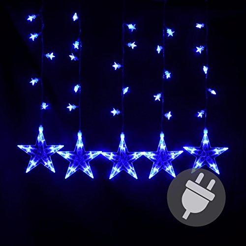 Nipach GmbH Sternenvorhang 100 LED Leuchtfarbe blau Lichterkette Lichtervorhang Stern Trafo Weihnachtsdeko Partydeko Weihnachtsbeleuchtung Innen Xmas
