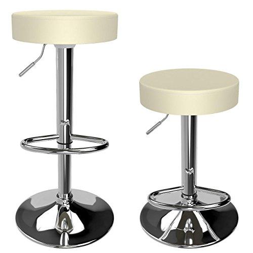 Homelux Barhocker Barstuhl 2er-Set Küchenhocker Lounge Hocker Stuhl mit Kunst-PU-Leder bezogen verchromter Fuß stufenlos höhenverstellbar Creme -