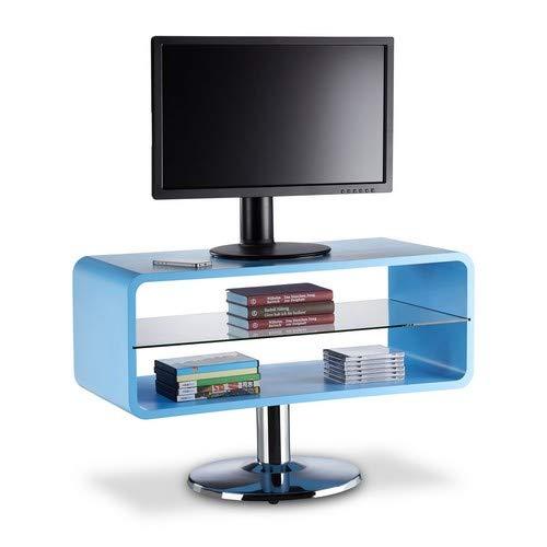 Relaxdays 10021918_45 piedistallo porta tv, mobile basso televisore, legno, design cube, hxlxp: 52 x 81 x 40 cm, blu