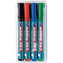 Flipchart-Marker edding 383 Etui, Keilspitze, PG=4ST, blau, grün, rot, schwarz