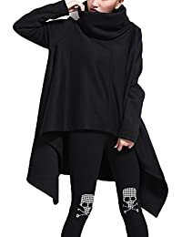 Très Chic Mailanda Damen Asymmetrisch Langarm Pullover Sweater Poncho mit Schalkragen S M