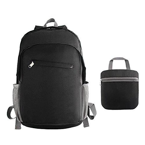 Leicht Faltbar Rucksack Tagesrucksack verstaubarer Reisetasche wasserabweisend robust für Wandern Camping Radfahren 20L, schwarz (Rv-tasche Faltbare)