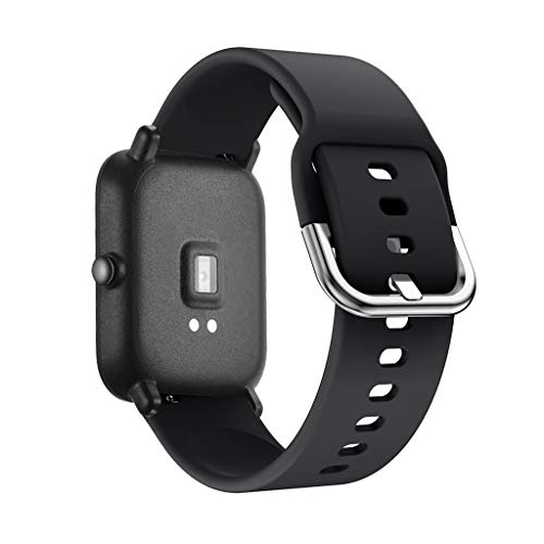 Looka33 Smart Watch Straps Waterproof Adjustable Silicone Band for Xiaomi Huami Amazfit *** Youth (Black)(Just a Strap)