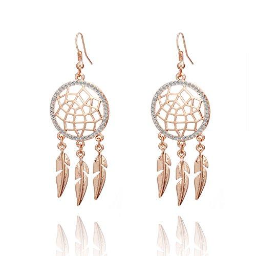 Baumeln Sie Ohrring für Frauen, Traumfänger Tropfenohrring Hypoallergen Rose Gold oder Silber Ohrring Strass Ohrring mit Kristall (Rose Gold)
