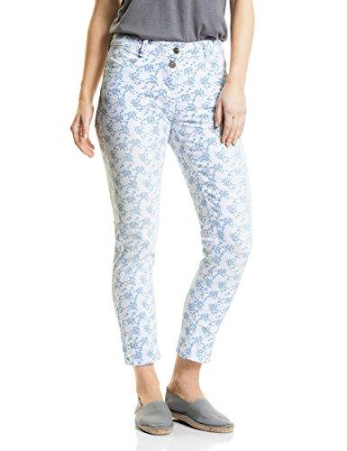 Cecil Damen 371435 Scarlett Floral Print Straight Jeans, White Denim, W27/L28 (Herstellergröße: 27) -
