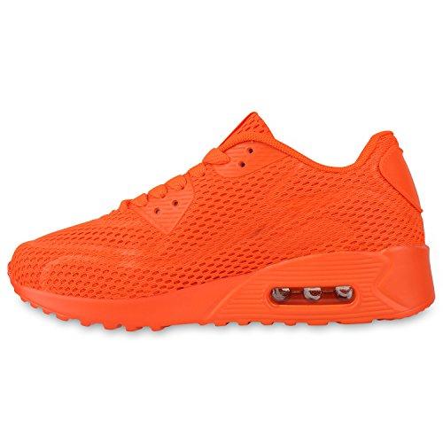 Trendige Unisex Laufschuhe | Damen Herren Kinder | Sportschuhe Metallic Glitzer | Camouflage Sneaker Bunt | Schnür Sport Turnschuhe Orange Neon