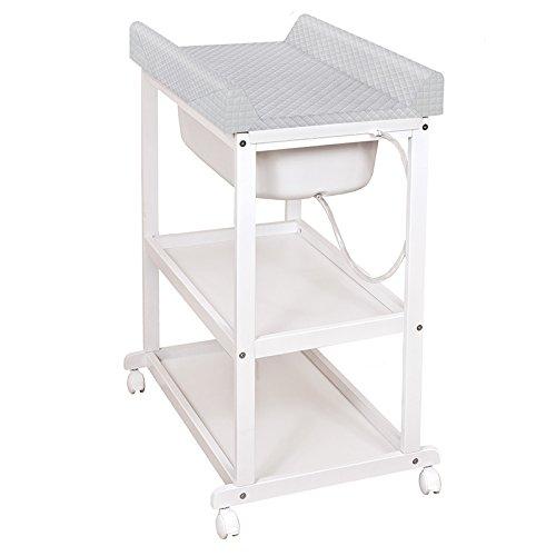 2 in 1 Bade-Wickelkombination Laura ❤ CARO-Premium Design | praktisch & sicher | Wickelkommode Babywanne Wickelstation (Farbe Grau) (Beste Baby Wanne)