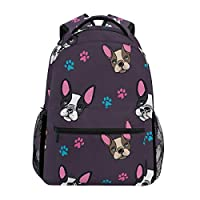 Hunihuni Animal French Bulldog Pattern Print Durable Backpack College School Book Shoulder Bag Daypack for Boys Girls Man Woman