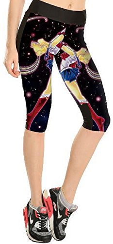 Donna 3D Sailor Moon stampato vita alta Calzas Capri leggings, Blue, M