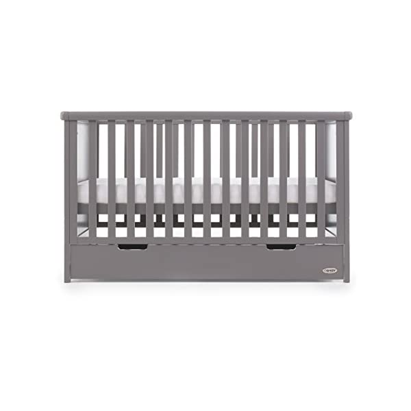 Obaby Belton Cot Bed, Taupe Grey Obaby Adjustable 3 position mattress height Bed ends split to transforms into toddler bed Includes matching under drawer for storage 4
