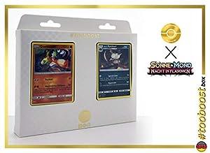 Quatermak (Passimian) 79/147 Y Alola-Ratikarl (Raticate de Alola) 82/147 - #tooboost X Sonne & Mond 3 Nacht in Flammen - Box de 10 Cartas Pokémon Aleman + 1 Goodie Pokémon