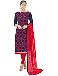 24 FASHIONS Navy Blue Colored Chanderi Salwar Suit.