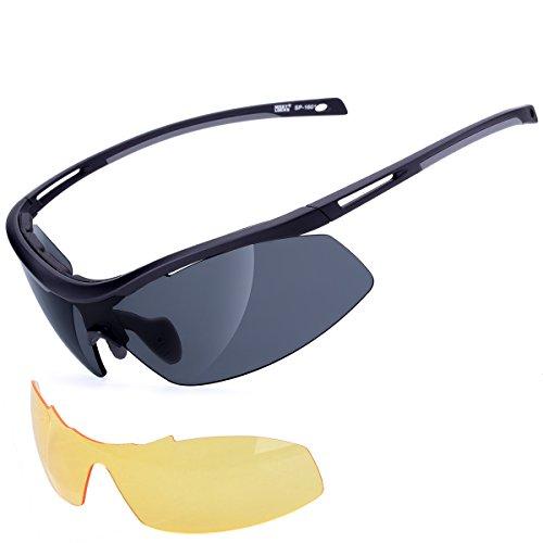 Meetlocks integrative fotocromatiche occhiali da sole di sport, tr90 telaio, 2 lenti intercambiabili, di cui 1 cambiare colore lense e 1 antiappannamento lense, per tutti gli sport all'aria aperta
