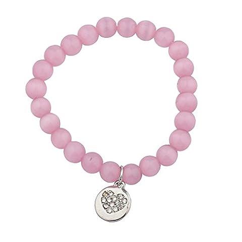 Lux Accessoires Bracelet élastique Perles Charm Cœur Rose