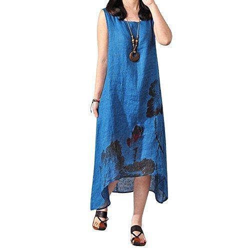 Domybest Frauen Boho lose Baumwolle Leinen Sommerkleid A-Linie Hemd Tank Kleid L blau (Tank A-linie)