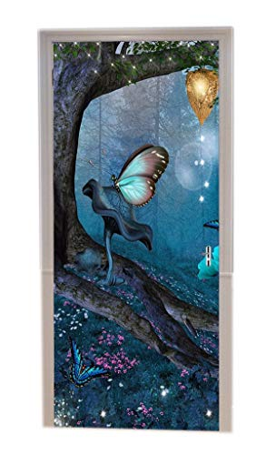 A.Monamour Alten Baum Fee Schmetterling Mysteriösen Blauen Wald Halloween Urlaub Themed Druck Vinyl Zimmer Tür Aufkleber Tapete Wandbilder Tür Aufkleber Poster
