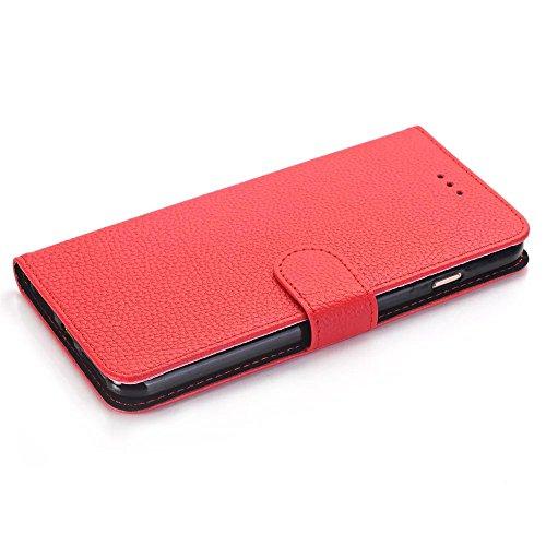 Étui IPhone 7 Plus, Étui en cuir Litchi Texture Pattern Étui horizontal Flip Stand Wallet Case avec Clousre magnétique et Wallet Card Slots pour IPhone 7 Plus ( Color : White , Size : IPhone 7 Plus ) Red