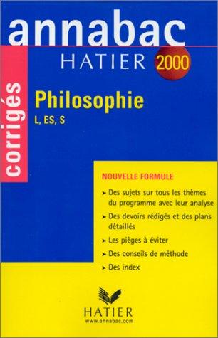 Annabac, corrigés 2000 - philosophie L, ES, S