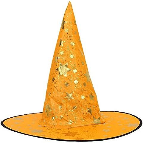 Ularma Sombrero de magos para Halloween, accesorio del traje, estrellas impresión tapa (naranja)