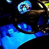 Ecloud Shop 4X Luz Neon 3 LED en Azul para interior de coche Rotativo