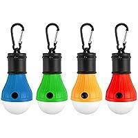 Tong Yue 4 Paquetes de Luces LED para Tienda de campaña, portátil, 3 Modos, Funciona con Pilas, para Mochila, Camping, Senderismo, Pesca, Emergencia, Funciona con Pilas, para Exteriores e Interiores