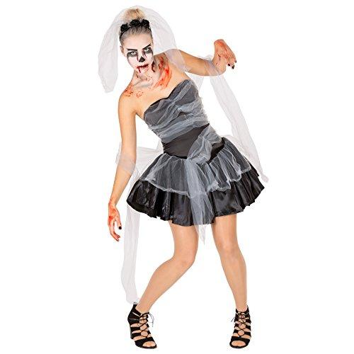 Sexy Schwarze Witwe Frauenkostüm Halloween Kostüm inkl. Haarrifen mit Blumen und Schleier & extra Tüllband (L | Nr. (Halloween Kleid Schwarze Witwe Kostüm)