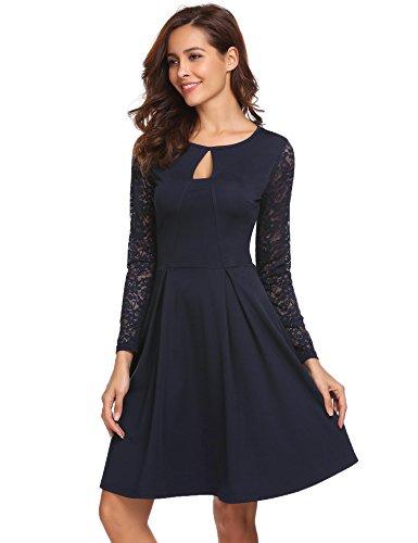 878b575e777b Meaneor Damen Elegant kleid mit Spitze Cocktailkleid Ballkleid Hochzeit  festlich kleid Partykleid knielang A Linie Grau ...