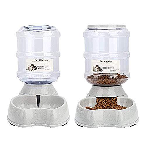 Meleg Otthon Automatischer Futterspender für Haustier,Futterspender und Wasserspender im Set,Hund...
