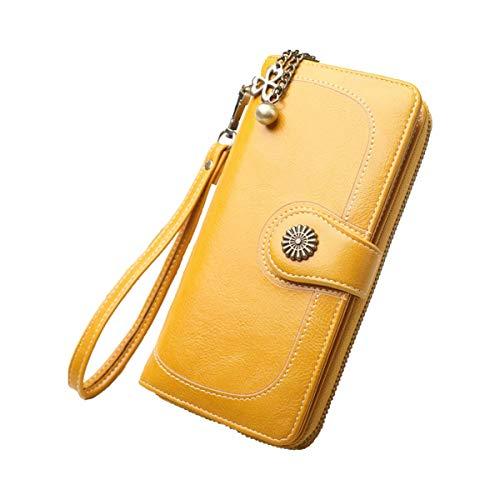 Fenical Wristlet Purse Allzweck-Portemonnaie mit Dreifachfaltung für Damen Lady (Gelb) - Multi-kupplungs-geldbeutel