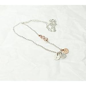 3 Initialen & Infinity 925 Silberkette Bicolor