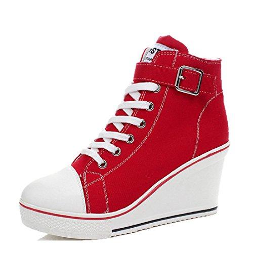 Donna Spessore inferiore Scarpe casual pompe Tacchi alti Piccole scarpe bianche Aumenta le scarpe Taglia larga Ballerine euro DIMENSIONE 35-43 red