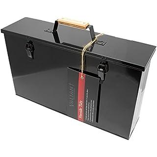 Valiant Fireside Tidy Ash Transporter - Black Gloss Steel Storage Box (FIR240)