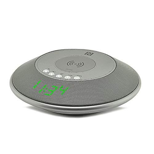 Wolfsay Wireless Bluetooth Lautsprecher QI Wireless Ladegerät mit FM Radio NFC Wecker für iPhone Samsung