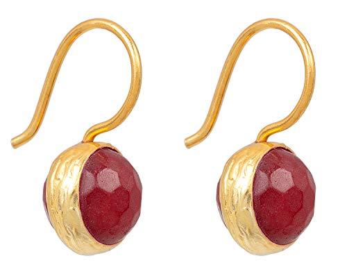 SARAH BOSMAN Damen Ohrringe Gold Globe Red Jade - Ohrhänger mit Kugel Silber vergoldet eingefasster Roter Jadestein - SAB-E04REDJADg (Jade Rot)