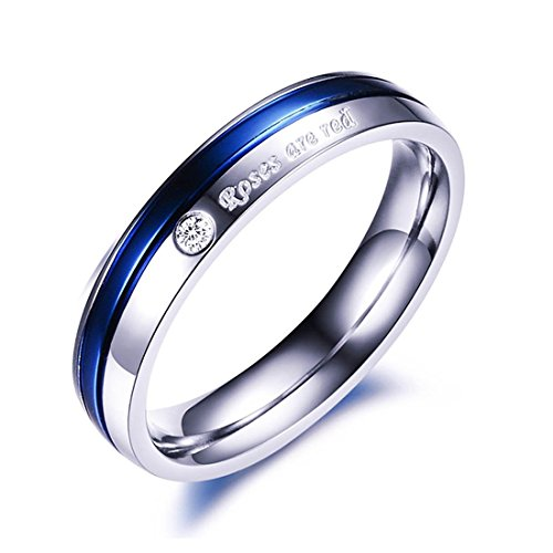 Peora AAA CZ Forever Love Platinum Plated Never Fading Proposal Blue Ring for Mens and Boys