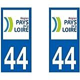 Autocollant plaque immatriculation pour Auto Pays de la loire département - Pays de la Loire / 44 Loire Atlantique