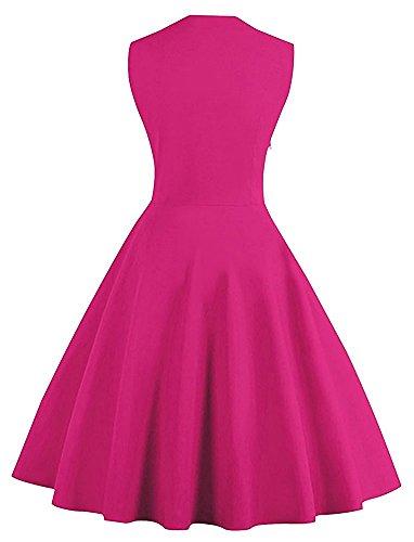 Minetom Damen Polka Dots Vintage 50er Elegantes Ärmellos Abendkleid mit Knöpfe Rockabilly Swing Cocktailkleid Rose
