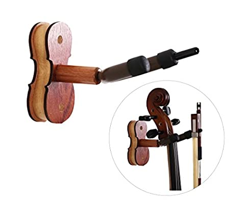 Violin Hanger, Action Cloud Hardwood Home & Studio Wall Mount Hanger for Violin / Viola (Rosewood)