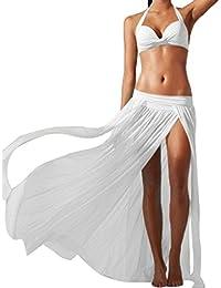 0ef6fdb4febc6f Lang Strandrock Goosun Damen Sommer Elegant High Waist Chiffon Maxi Skirt  Boho Langer Rock Transparent Sexy