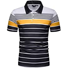 ESAILQ Hombres Casual Manga Corta Camiseta Soltero Botón Abertura Llano Collar de Vuelta Camisas Mezcla de