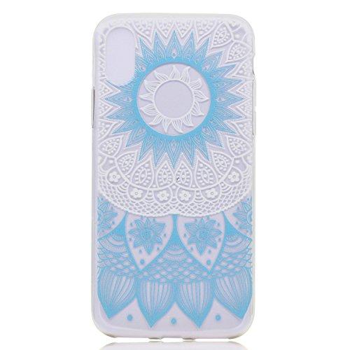 iPhone X Hülle, Voguecase Silikon Schutzhülle / Case / Cover / Hülle / TPU Gel Skin für Apple iPhone X(Fahrrad) + Gratis Universal Eingabestift Blaues Muster