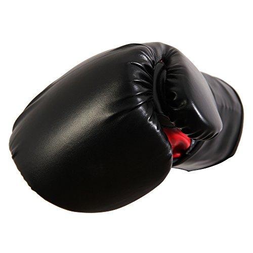 POWRX Boxhandschuhe Kunstleder 10 16 oz Schwarz Rot Damen Herren (Schwarz 10 OZ)