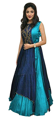 Clickedia Women\'s Heavy Banglory Silk Jacket Style Semi Stitched Skyblue & Blue Floor Length Gown - Dresses