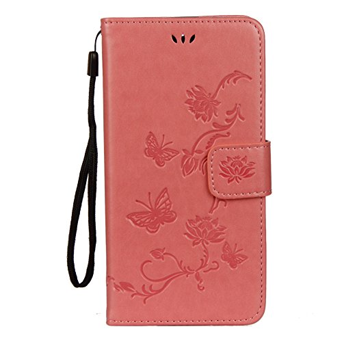 KM-WEN® Schutzhülle für Apple iPhone X (5,8 Zoll) Bookstyle Lotus Blumen Muster Prägung Ledertasche mit Strap Magnetverschluss PU Leder Wallet Case Flip Cover Hülle Tasche Schutzhülle mit Standfunktio Pink