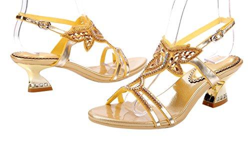 Honeystore Damen's Stämmiger Absatz Handgemacht Strass Sandalen Gold
